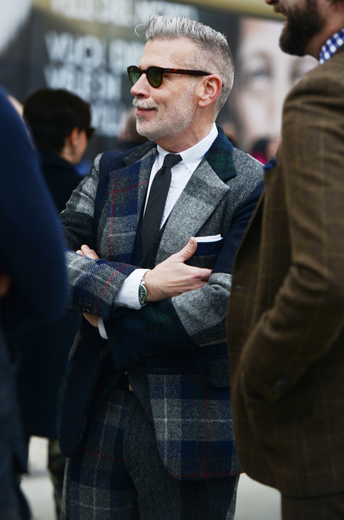 Nick Wooster with Plaid Suit street fashion men's style