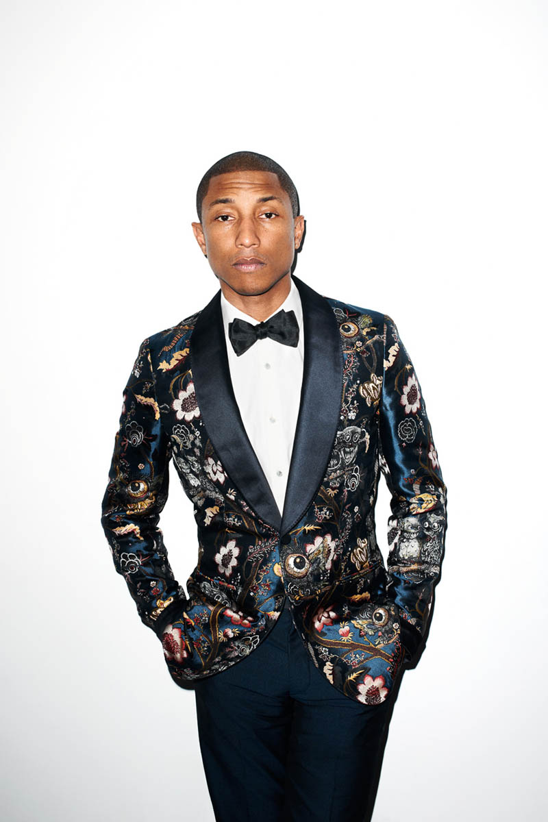Pharrell Williams in Floral Tuxedo bow tie men's fashion