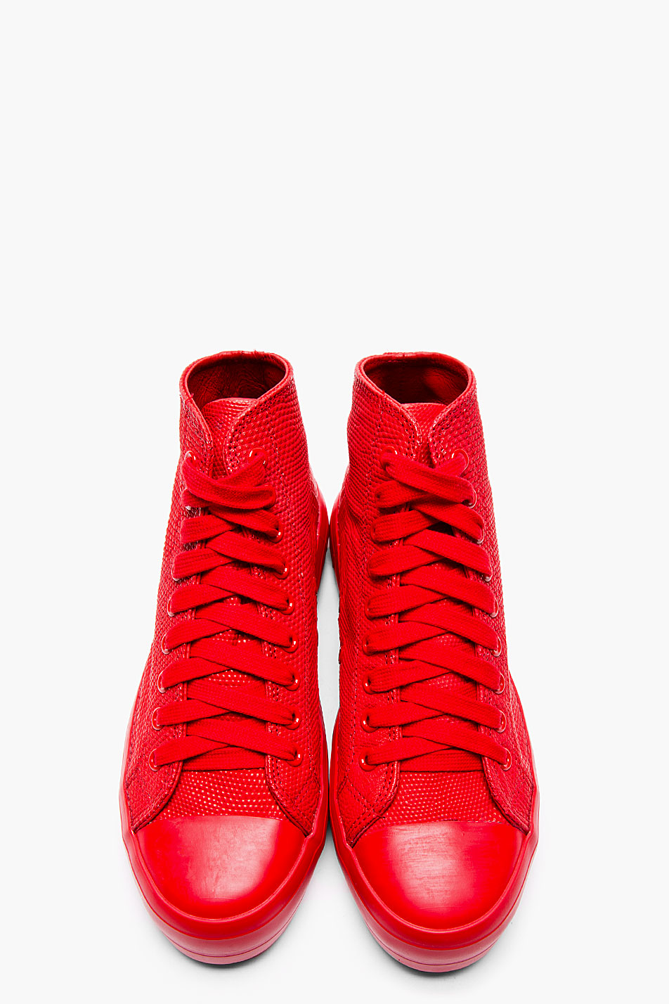 Red Lizardskin Hi-Top Sneakers Christian Peau Men's Fashion