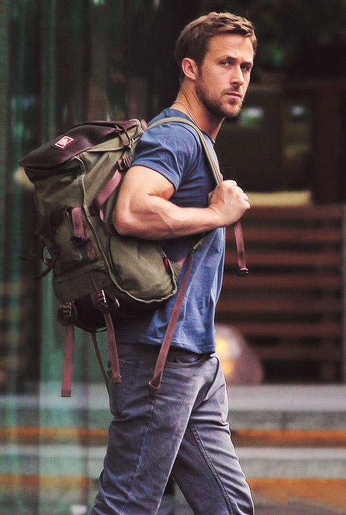 Ryan Gosling Grey Jeans & Backpack mean muggin' Wilshire Staple Altamonta