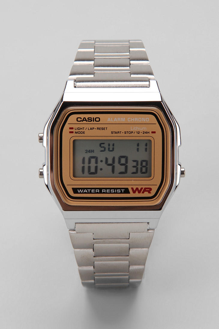 Chrome & Gold Casio Digital Watch