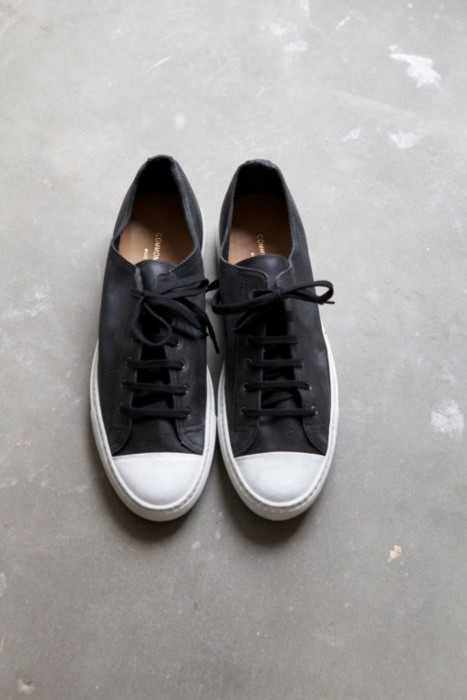 Common Projects Black Nubuck, White Rubber cap toe