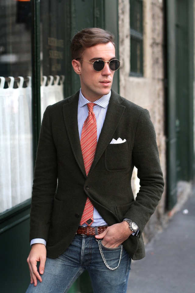 Green Jacket on Woven Belt street style