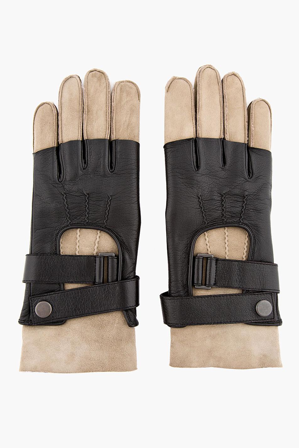 Half Finger Gloves balmain shearling leather two tone 1