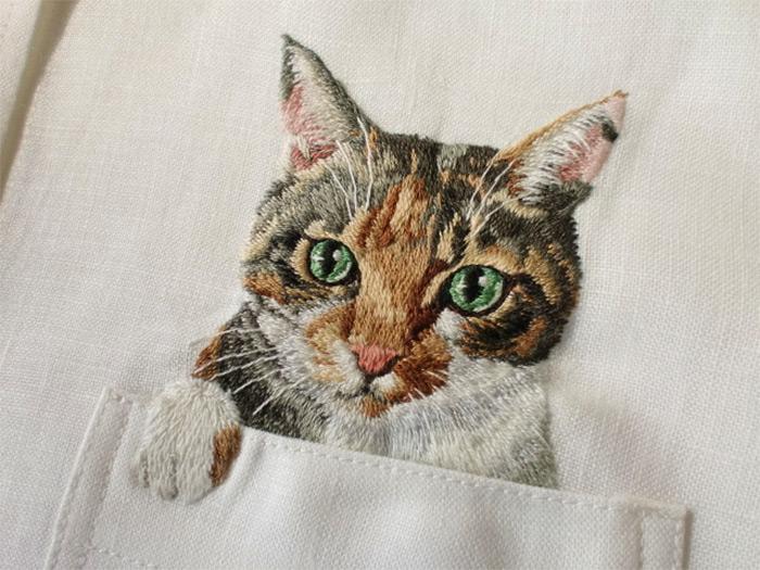 Japanese Cat Shirts hiroko kubota embroidered 2