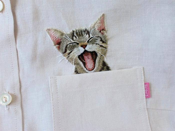 Japanese Cat Shirts hiroko kubota embroidered 3