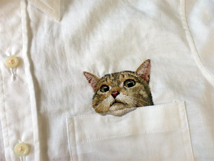 Japanese Cat Shirts hiroko kubota embroidered 4