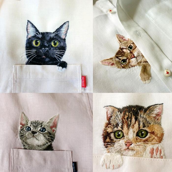 Japanese Cat Shirts hiroko kubota embroidered 5