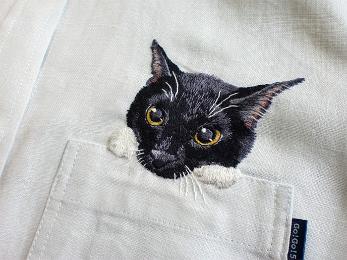 Japanese Cat Shirts hiroko kubota embroidered 6