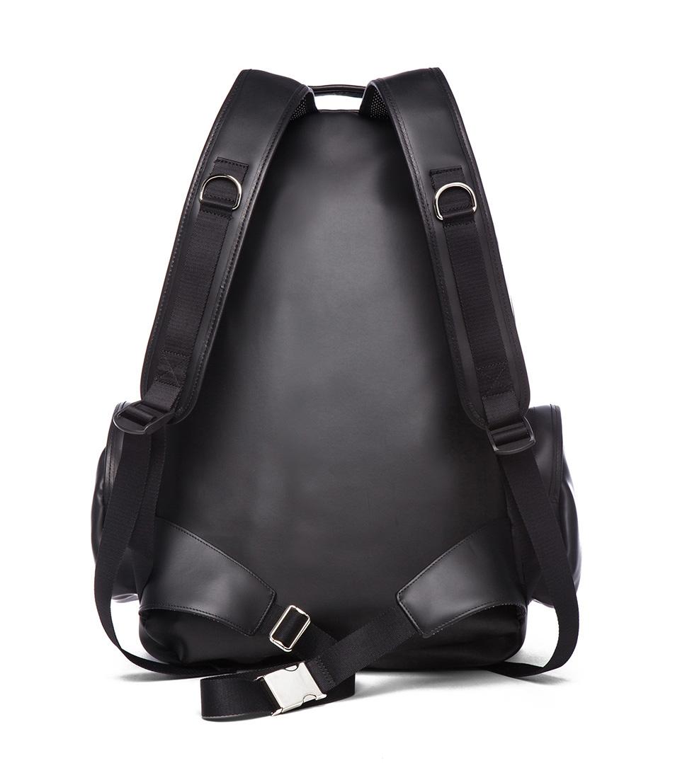 Leather Backpack black menswear kris van assche rear