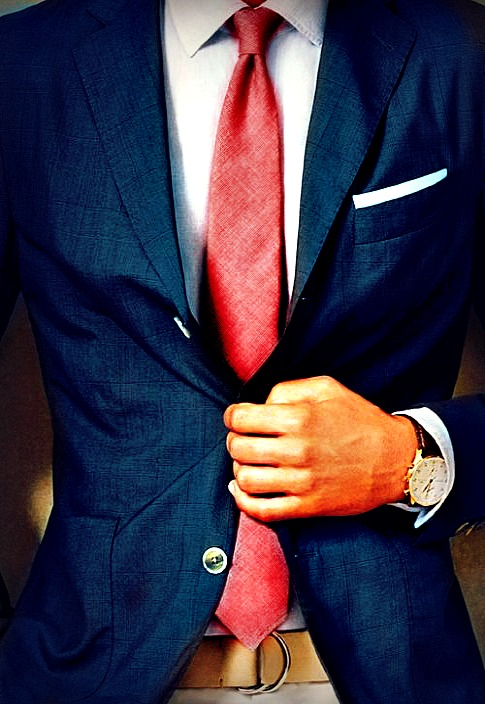 Luxury Style Blue Jacket red tie menswear