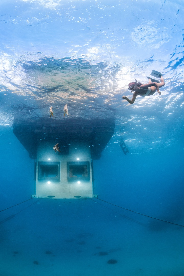 Designed by Swedish-born Mikael Genberg   Genberg Underwater Hotels  Underwater Hotel Room At Night
