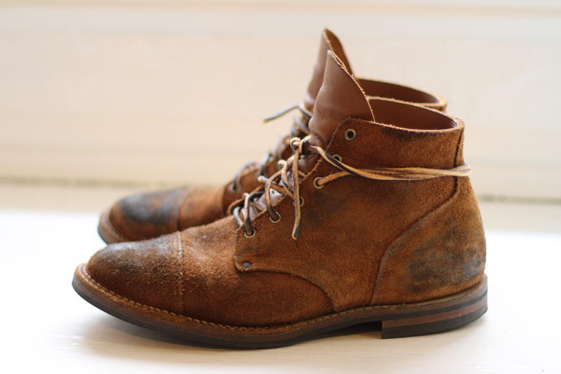Nigel Cabourn x Viberg Pre-Distressed Cap Toe Boots