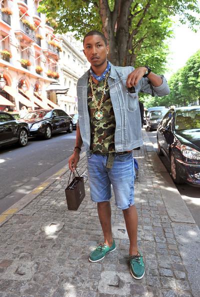 Pharrell Denim on Denim camo shirt streetstyle