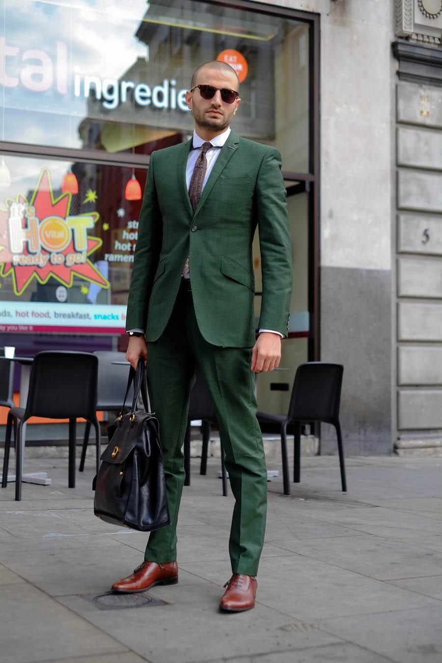 Robert Spangle Green Suit streetstyle