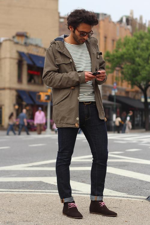 Texting in Stripes, dark wash denim x suede chukka
