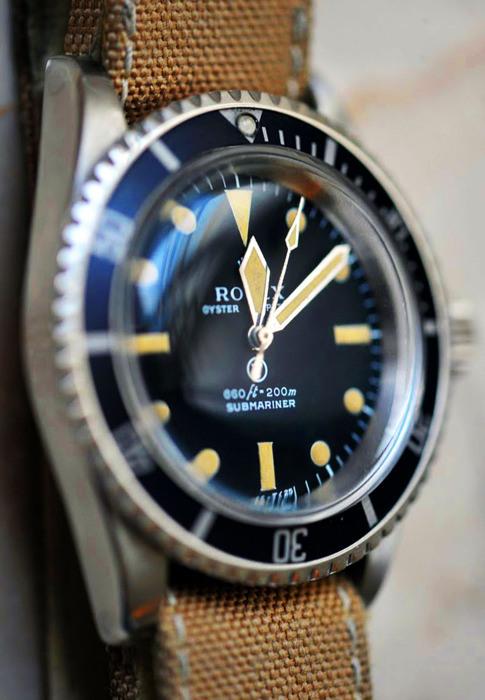Vintage Submariner x Canvas Strap Light Brown Rolex Menswear