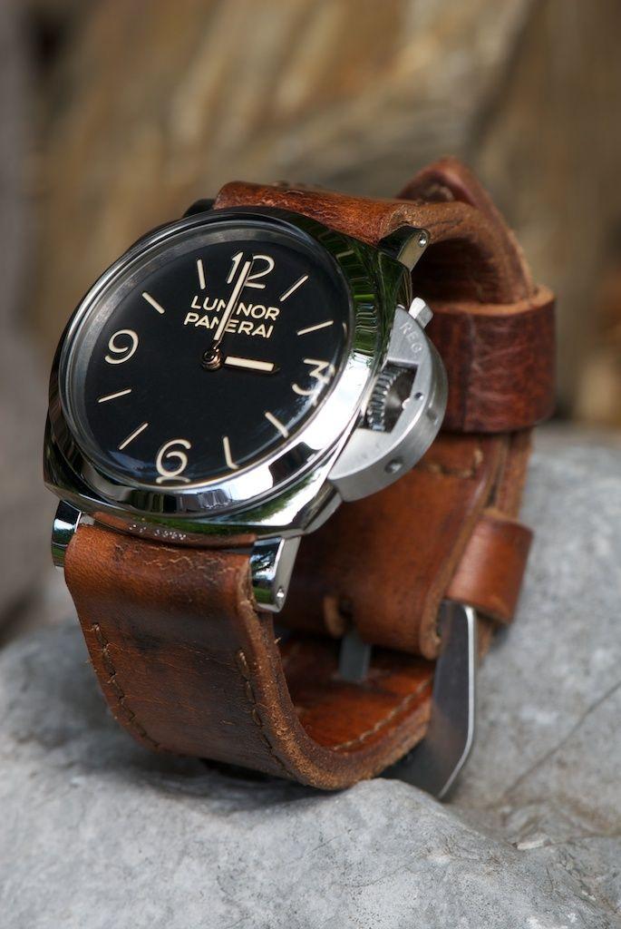 Watch brown leather strap panerai