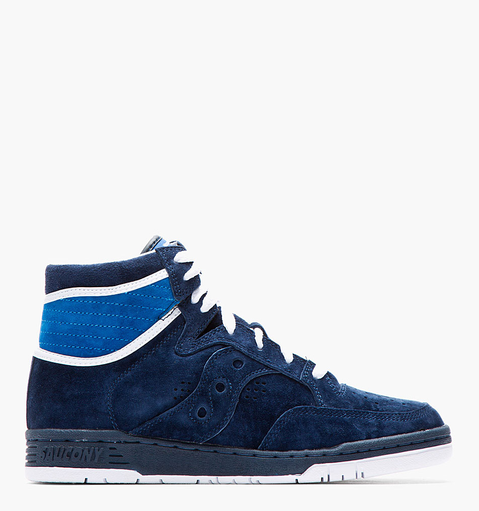 White Mountaineering x Saucony navy suede hangtime sneakers 1