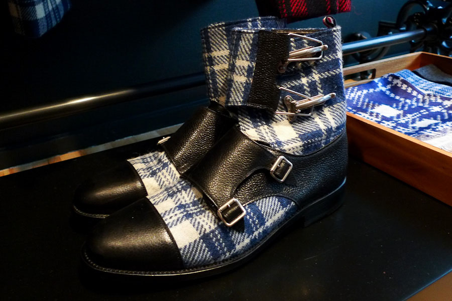 Blue Tartan Double Monk Boots