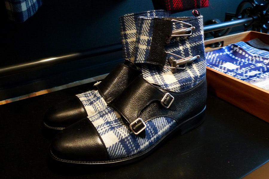 Blue Tartan Double Monk Boots
