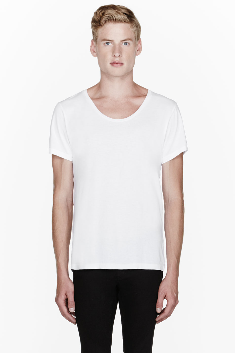 ACNE White Scoop Neck T-Shirt Ryan Gosling