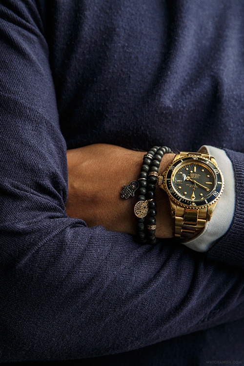 Gold Submariner x Black Bracelet #menswear