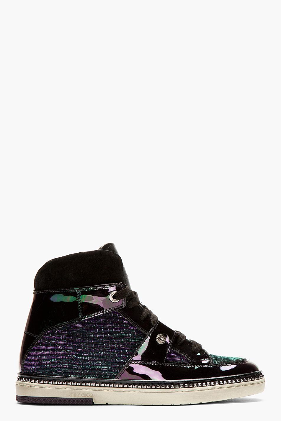 Jimmy Choo Black Iridescent Petrol High-Top Sneakers 1