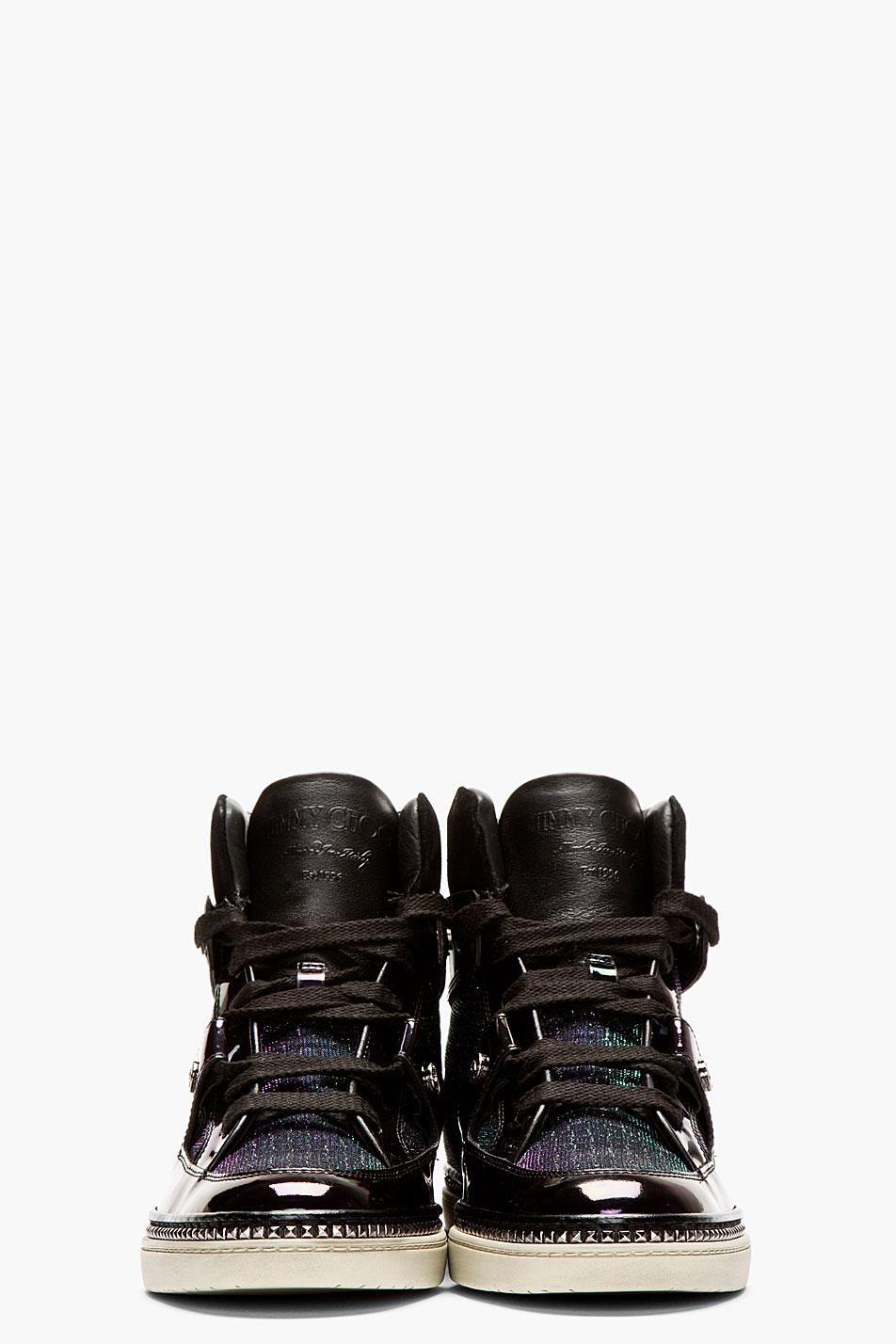Jimmy Choo Black Iridescent Petrol High-Top Sneakers 2
