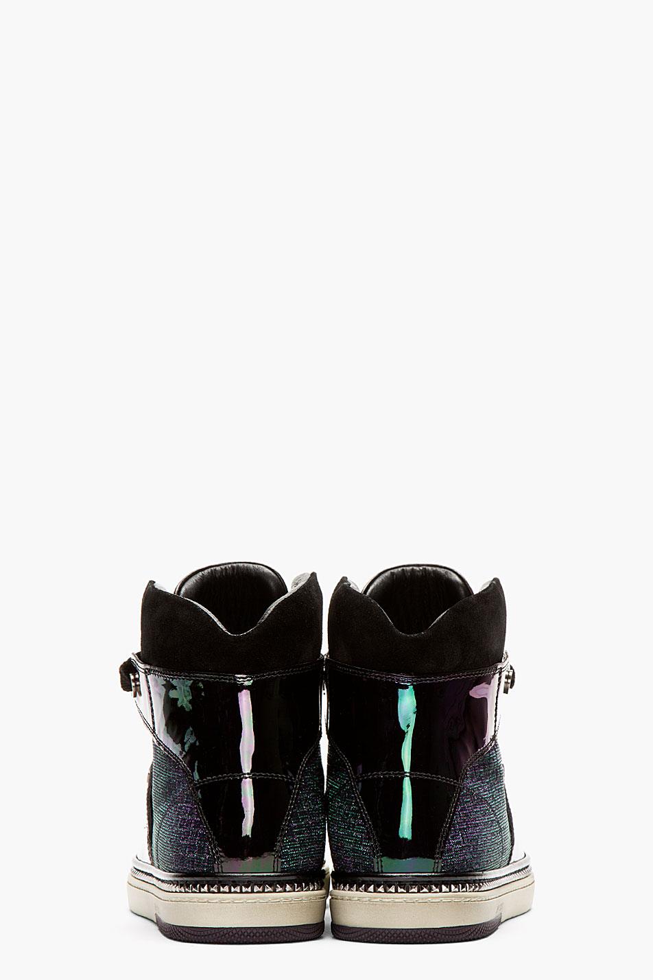 Jimmy Choo Black Iridescent Petrol High-Top Sneakers 3