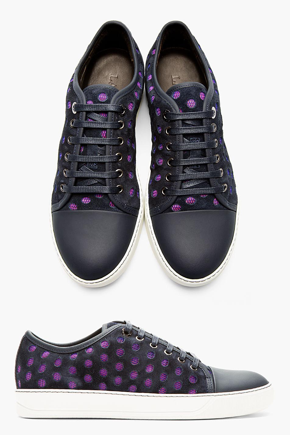 Laser Cut Suede in Deep Navy LANVIN Sneakers