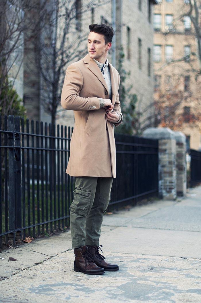 Military Gentleman boots beige coat streetstyle