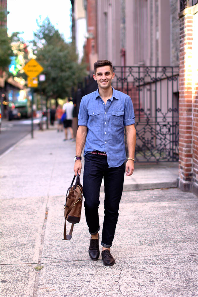 Plain Chambray Shirt #streetstyle