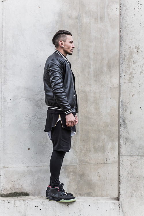 Undercut × Leather Jacket × Shorts #streetwear