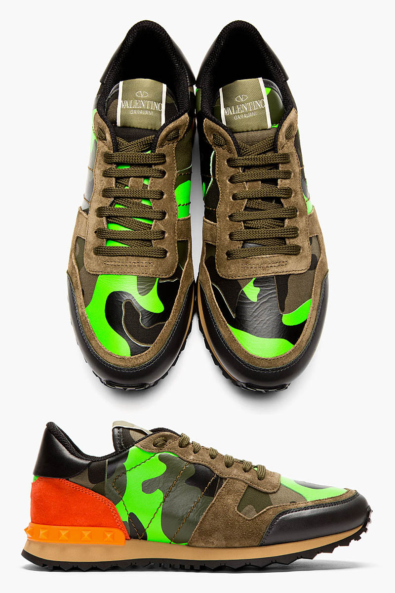 valentino green camouflage studded sneakers soletopia. Black Bedroom Furniture Sets. Home Design Ideas