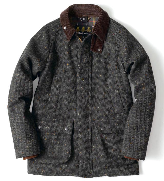 Barbour × Molly & Sons corduroy lined herringbone coat tweed
