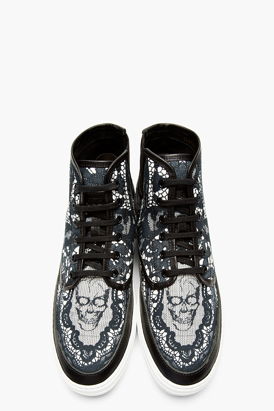 Black Skull × Lace high top sneakers alexander mcqueen 1
