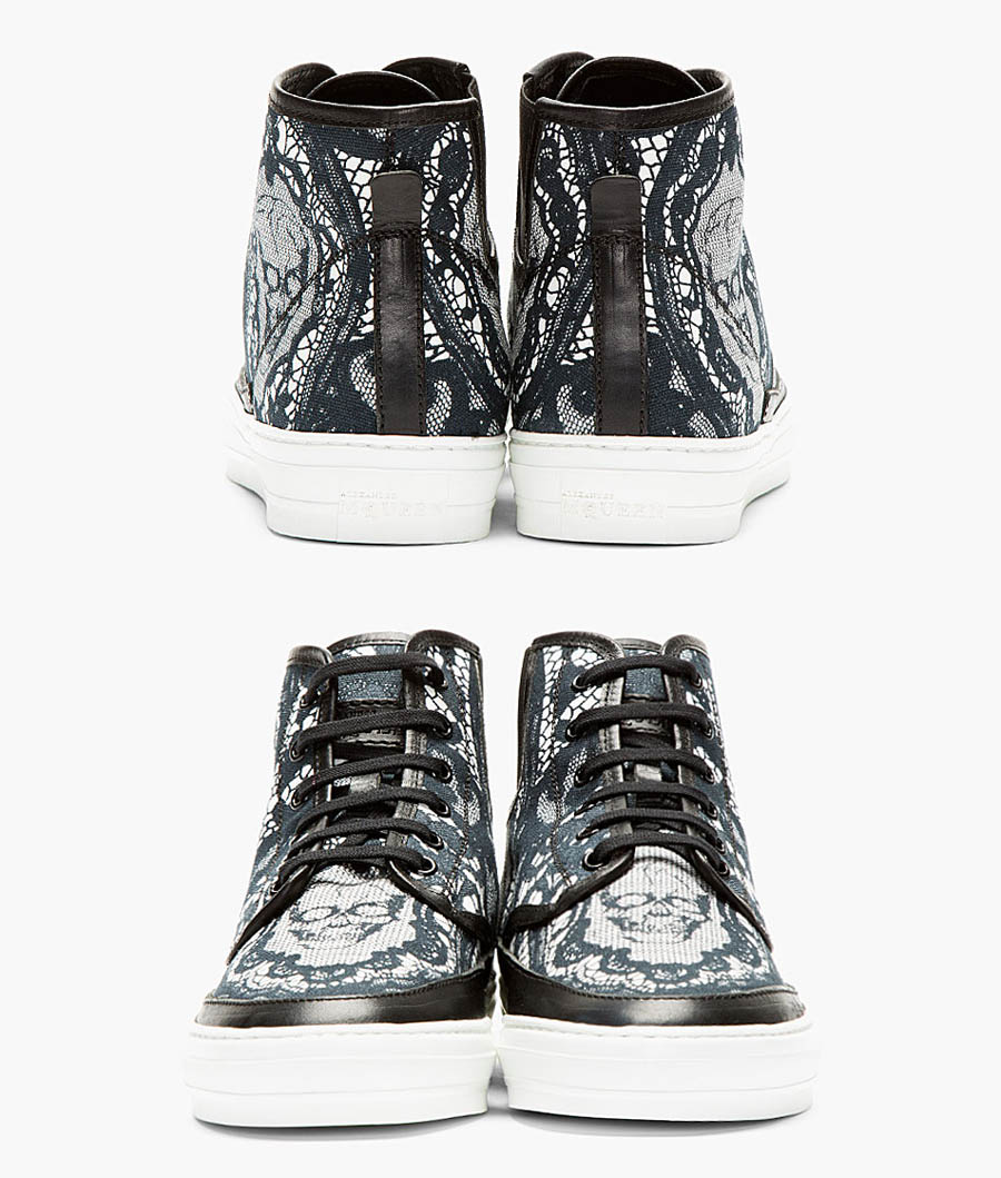 Black Skull × Lace high top sneakers alexander mcqueen 2