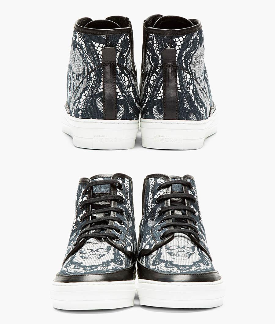 Black Skull × Lace high top sneakers alexander mcqueen 2