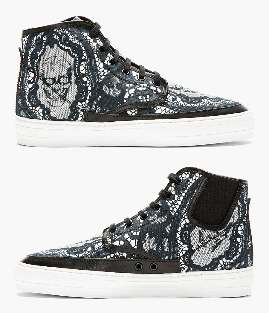 Black Skull × Lace high top sneakers alexander mcqueen 3