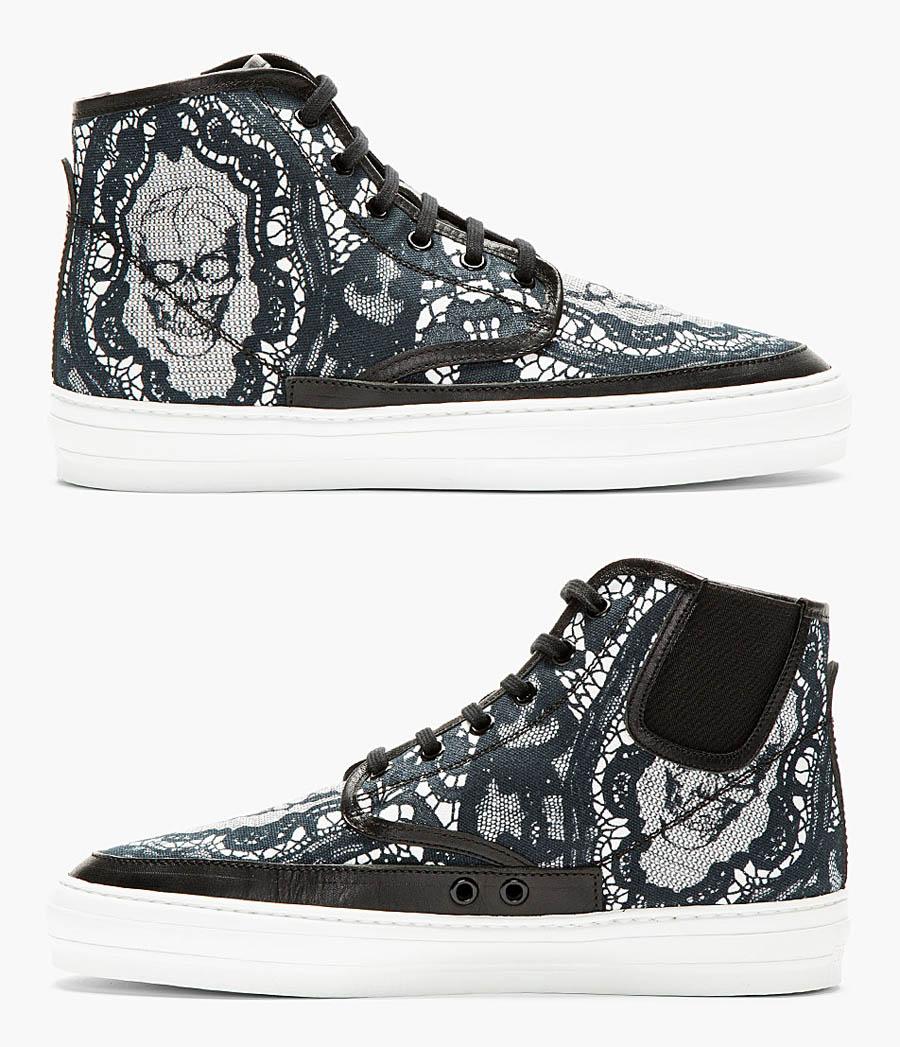 Black Skull × Lace high top sneakers alexander mcqueen 3