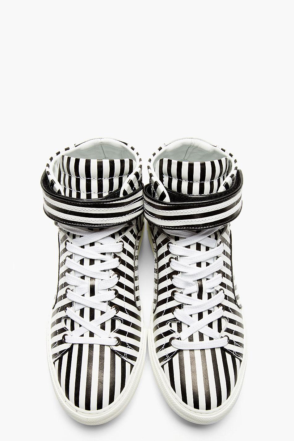Black & White Stripe Sneakers Hi-Top Pierre Hardy