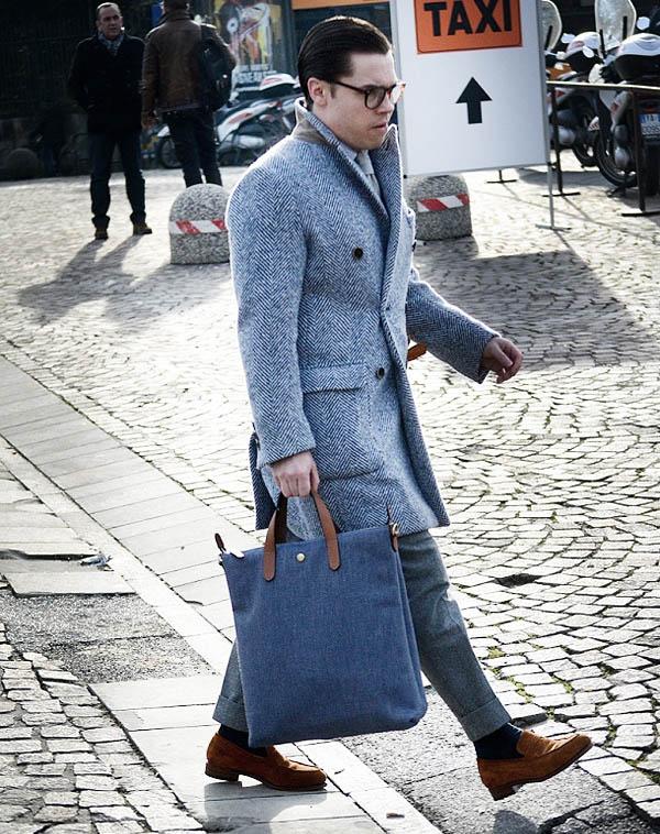 Blue Herringbone Coat in Florence rose & born