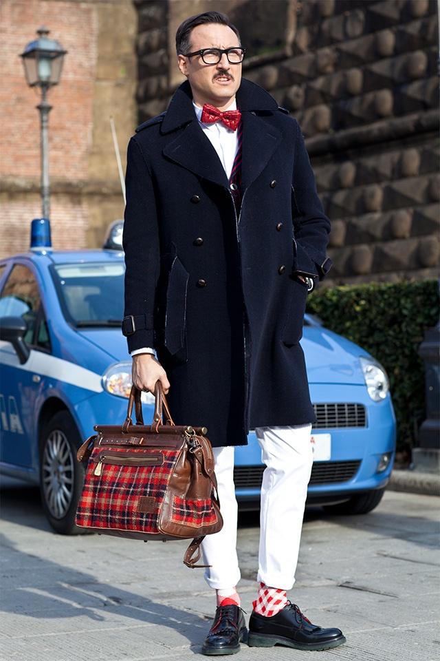 Bow Tie × Moustache × Classic Pea Coat streetstyle plaid bag