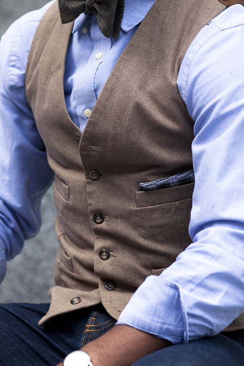 Camel Vest × Brown Bow Tie