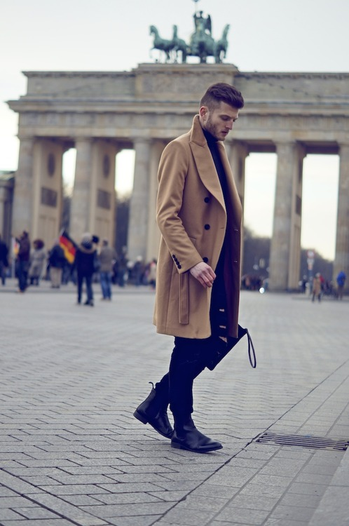 Chelsea Boot and Pea Coat double breasted beige