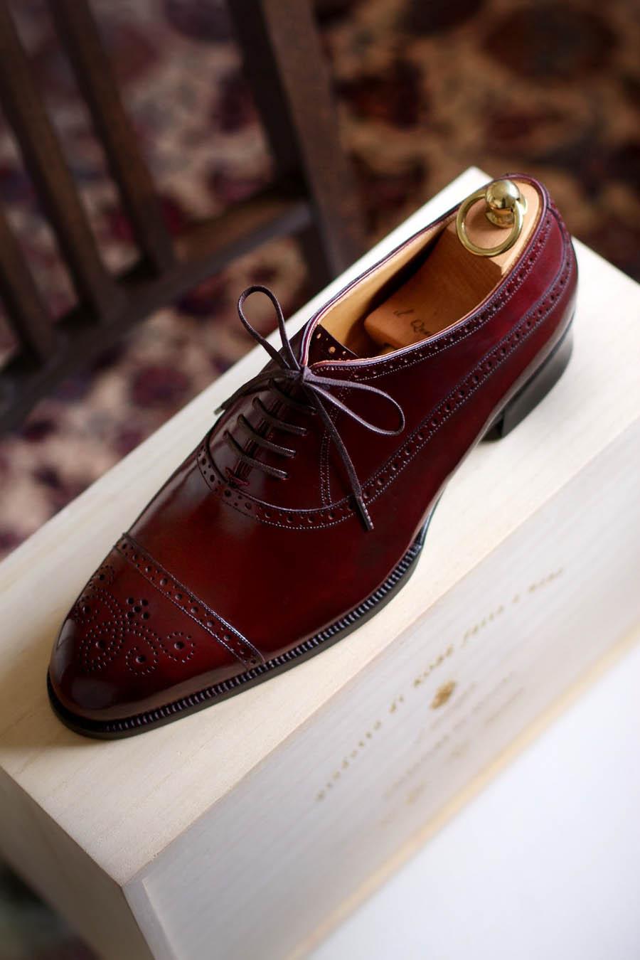 Classy Burgundy Oxford dress shoes men