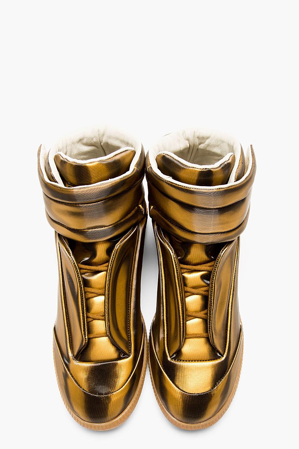 Copper Glossy Vinyl Maison Martin Margiela Gold Sneakers 1