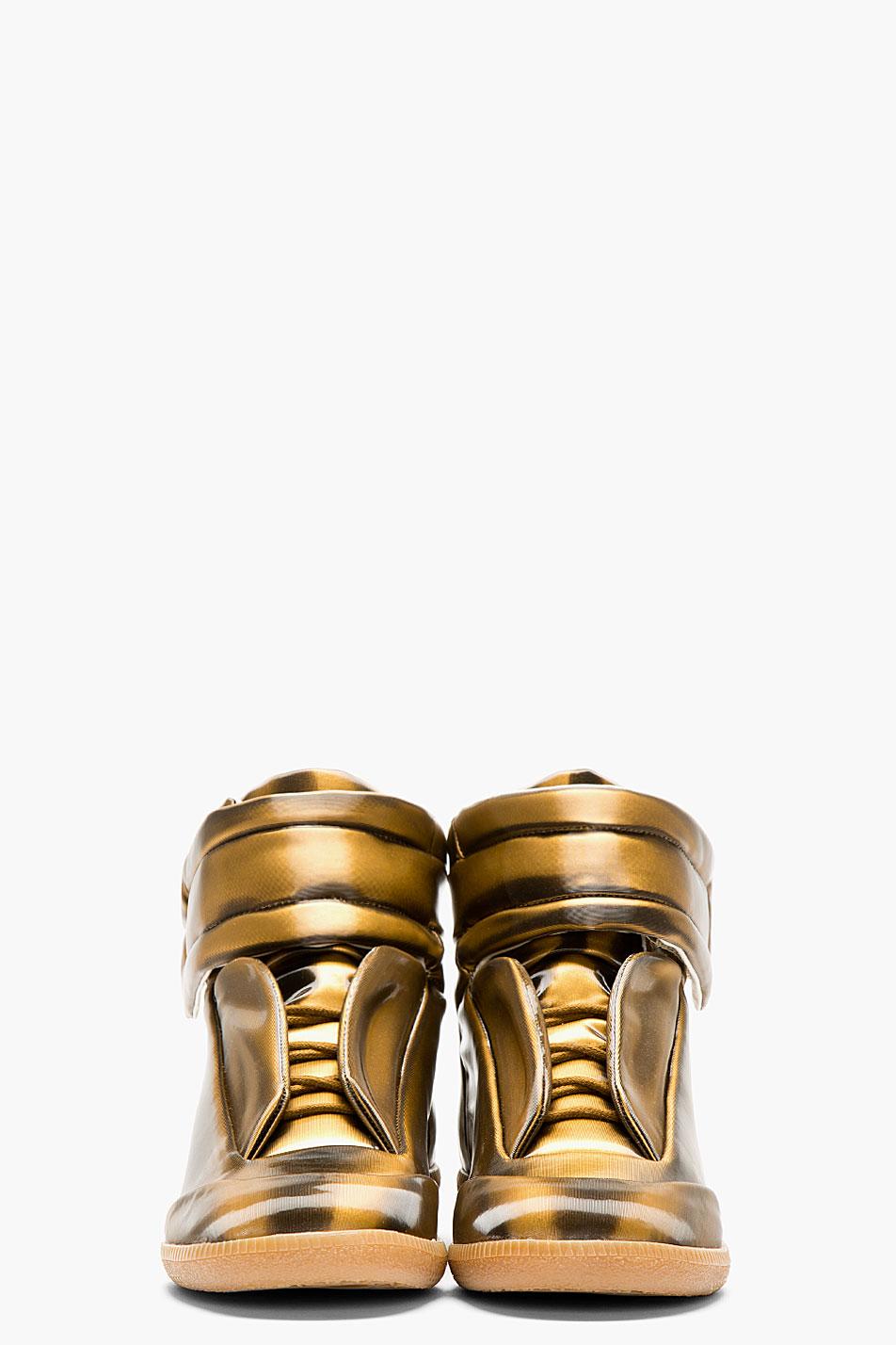 Copper Glossy Vinyl Maison Martin Margiela Gold Sneakers 2