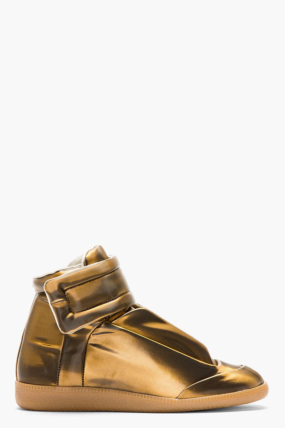 Copper Glossy Vinyl Maison Martin Margiela Gold Sneakers 3